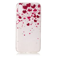 Coque iPhone iPhone X XS en TPU rose rouge transparente