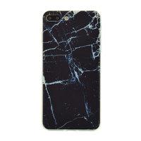 Etui en TPU en marbre noir Couverture en marbre iPhone 7 Plus 8 Plus