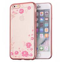 Coque en TPU rose pour papillons fleuris iPhone 6 6s