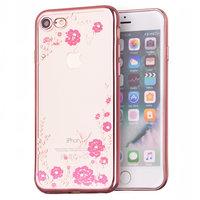 Coque TPU iPhone 7 8 SE 2020 en or rose avec des fleurs roses