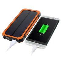 Batterie solaire d'extérieur rechargeable orange noir Powerbank 10000 mAh
