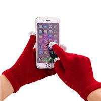 Gants hiver tactiles laine rouge bordeaux