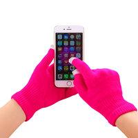 Gants tactiles d'hiver laine rose vif