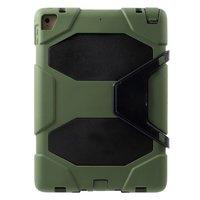 Coque Survivant Militaire iPad 2017 2018 Coque - Avec support et film de protection d'écran - Vert armée