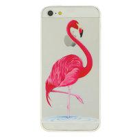 Coque TPU transparente en TPU Flamingo rose pour iPhone 5, 5s