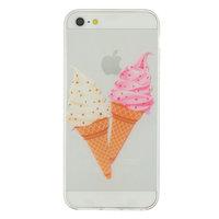 Coque iPhone 5 5s SE transparente transparente rose crème glacée rose cône crème glacée