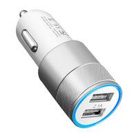 Chargeur voiture universel argent - Dual USB 2.4 Amp - Chargeur voiture argent