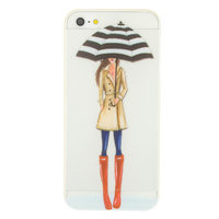Coque en TPU parapluie pluie fille iPhone 5 5s SE - Trench-coat bottillons rouge - Transparent