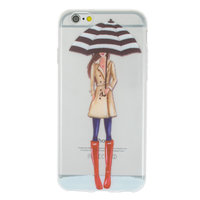 Étui TPU pour fille parapluie pluie iPhone 6 6s - Trench rouge Boot - Transparent