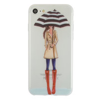 Coque en TPU parapluie pluie fille iPhone 7 8 - Trench-coat bottillons rouge - Transparent