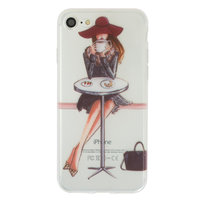 Coque en TPU Coffee Girl pour iPhone 7 8 - Transparente