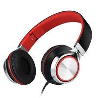 Écouteurs stéréo filaires HD200 à écouteurs - Microphone métallique rouge noir