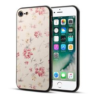 Housse en cuir PU hybride TPU hybride pour iPhone 7 8 SE 2020 - Rose crème