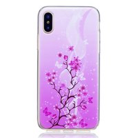 Coque TPU Flower branch pour iPhone X XS - Violet Rose
