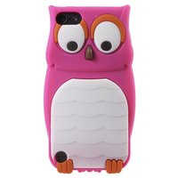 Housse en silicone 3D pour hibou iPod Touch 5 6 7 - Bright Pink White