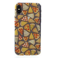 Coque en TPU Pizza Etui Transparent iPhone X XS - Transparent