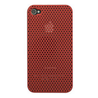 Etui rigide coque trous iPhone 4 4S - Rouge