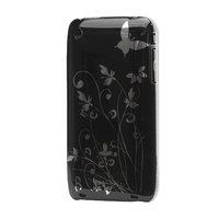 iPhone 3 3G 3GS étui rigide fleur ornée belle impression - Noir