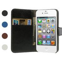 iPhone 4 4s Bookcase Etui portefeuille Etui portefeuille en cuir - Rose pâle