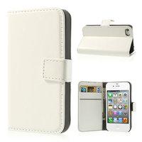 Etui Portefeuille en Cuir pour iPhone 4 4s Bookcase Wallet - Blanc