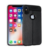 Coque iPhone X XS en TPU Litchi Grain en cuir - Noire