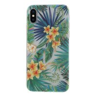 Étui floral à feuilles tropicales iPhone X XS - Transparent