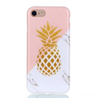 Coque iPhone 7 8 SE 2020 Gold Pineapple Marble Case - Or blanc rose