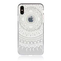 Coque rigide TPU hybride Mandala transparente pour iPhone X XS - Blanche