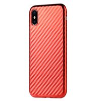Sulada Coque TPU en fibre de carbone pour iPhone X - Rouge