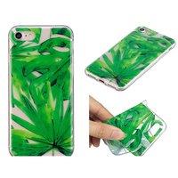 Housse en TPU pour feuilles tropicales iPhone 7 8 - Vert transparent