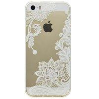 Coque en TPU transparente motif floral iPhone 5 5s SE - Blanc