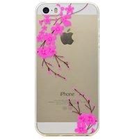 Coque en TPU Grass Branch Branch pour iPhone 5 5s SE - Rose Transparent