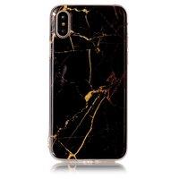 Coque en marbre Coque en TPU pour iPhone X XS - Or noir