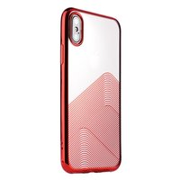 Sulada Coque en TPU Transparent pour iPhone X XS - Rouge métallisé