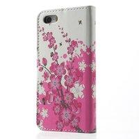 Etui Portefeuille en Cuir Artificiel pour iPhone 5 5s SE Blossom Bees - Rose Blanc