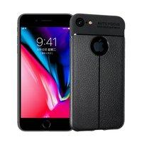 Coque iPhone 7 8 en TPU Litchi Grain en cuir - Noire