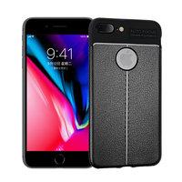 Étui TPU en cuir Litchi Grain pour iPhone 7 Plus 8 Plus - Noir