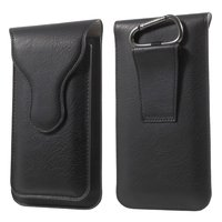 Pochette en cuir double manche iPhone 6 iPhone 6 Plus - Mousqueton Noir