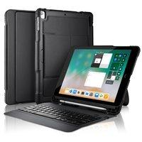 Housse de clavier QWERTY Bluetooth Housse en cuir universelle pour iPad - Clavier amovible noir
