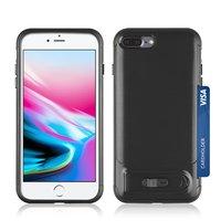 Porte-cartes hybride en plastique TPU iPhone 7 Plus 8 Plus brossé - Noir Standard