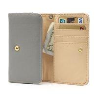 Etui portefeuille universel pour smartphone en cuir - Gris