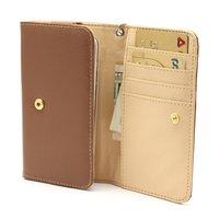 Etui portefeuille universel pour smartphone en cuir - Marron