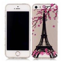 Coque TPU Paris Fleur Eiffel Tower iPhone 5 5s SE - Rose Transparent Noir