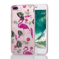 Coque TPU Flamingo tropical glitter pour iPhone 7 Plus 8 Plus - Rose transparent Vert
