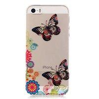 Coque TPU iPhone 5, 5s SE, fleurie et papillon translucide - colorée