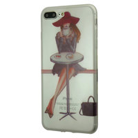 Coque de café city girl en TPU iPhone 7 Plus 8 Plus - Transparent