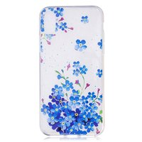 Coque en TPU Transparent Flower Bush pour iPhone X XS - Bleu