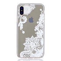 Coque en TPU Transparent Lace Floral iPhone X XS - Blanc