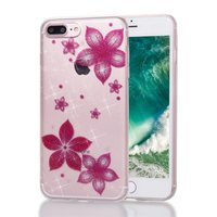 Étui à fleurs en paillettes TPU iPhone 7 Plus 8 Plus - Rose transparent