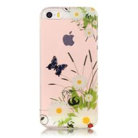 Coque iPhone 5 5s SE 2016 Transparent Butterfly Daisies - Blanc Vert